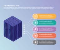 De inzameling van het serverdatacentrum met isometrische de bannerwebsite van het stijl 3d infographic malplaatje of brochuredruk stock illustratie