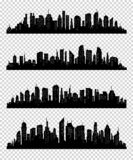 De inzameling van het stadssilhouet met zwarte kleur op transparrent achtergrond Stock Afbeeldingen