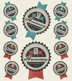 De inzameling van het verjaardagsteken en kaartenontwerp in retro stijl. Royalty-vrije Stock Afbeeldingen