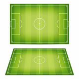 De inzameling van het voetbalgebied Voetbalgebieden met vertrappeld onderaan gras Hoogste mening en perspectiefmening royalty-vrije illustratie