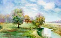 De Inzameling van het waterverflandschap: Het dorpsleven Royalty-vrije Stock Foto