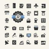 De inzameling van het Webpictogram - huishoudapparaten Royalty-vrije Stock Foto's