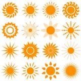 De inzameling van het zonpictogram - vectorillustratie Stock Afbeelding