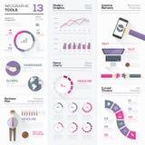 De inzameling van Infographichulpmiddelen en vector grafische elementen Royalty-vrije Stock Foto