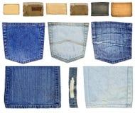 De inzameling van jeans Stock Foto's