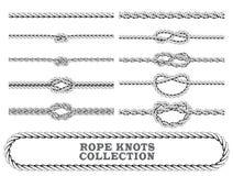 De inzameling van kabelknopen Overhands, Cijfer van acht en dubbele platte knoop Naadloze decoratieve elementen Stock Foto
