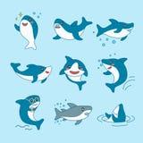 De Inzameling van Kawaiihaaien Het grappige Leuke die Karakter van het Vissenbeeldverhaal - voor het Ontwerp van het Kinderdagver stock illustratie