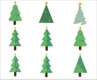 De inzameling van Kerstbomen modern vlak ontwerp kan en voor Webgebruik worden gedrukt - Vector vector illustratie