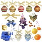 De inzameling van Kerstmis/geïsoleerde voorwerpen Royalty-vrije Stock Foto