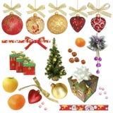De inzameling van Kerstmis/geïsoleerden voorwerpen Stock Foto's