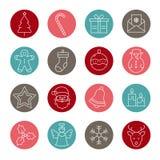 De Inzameling van Kerstmispictogrammen - dun lijnontwerp vector illustratie