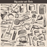De Inzameling van krabbels van de Vector van de Instrumenten van Hulpmiddelen Royalty-vrije Stock Foto's