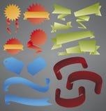De inzameling van linten en van Banners Stock Afbeelding
