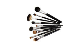 De inzameling van make-upborstels Stock Afbeelding