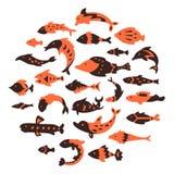 De inzameling van mariene vissen royalty-vrije illustratie