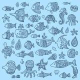 De inzameling van mariene vissen en zoogdieren vector illustratie
