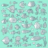 De inzameling van mariene vissen en zoogdieren royalty-vrije illustratie