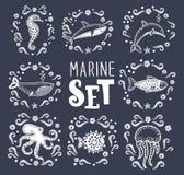 De inzameling van mariene vissen en zoogdieren vector-illustratie; royalty-vrije illustratie
