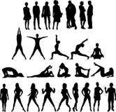 De inzameling van Mensen silhouetteert Zevenentwintig Figu Royalty-vrije Stock Afbeelding