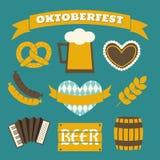 De Inzameling van Oktoberfestpictogrammen Stock Foto
