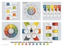 De inzameling van 6 ontwerpt kleurrijke presentatiemalplaatjes EPS10 Reeks de vector en van het bedrijfs infographicsontwerp pict Stock Foto