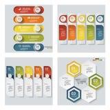 De inzameling van 4 ontwerpt kleurrijke presentatiemalplaatjes Het kan voor prestaties van het ontwerpwerk noodzakelijk zijn Stock Afbeelding