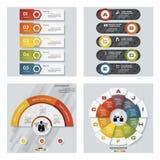 De inzameling van 4 ontwerpt kleurrijke presentatiemalplaatjes Het kan voor prestaties van het ontwerpwerk noodzakelijk zijn Royalty-vrije Stock Foto