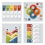 De inzameling van 4 ontwerpt kleurrijke presentatiemalplaatjes Het kan voor prestaties van het ontwerpwerk noodzakelijk zijn Royalty-vrije Stock Fotografie
