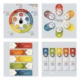 De inzameling van 4 ontwerpt kleurrijke presentatiemalplaatjes Het kan voor prestaties van het ontwerpwerk noodzakelijk zijn Stock Fotografie