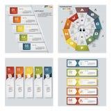 De inzameling van 4 ontwerpt kleurrijke presentatiemalplaatjes Het kan voor prestaties van het ontwerpwerk noodzakelijk zijn Royalty-vrije Stock Afbeeldingen