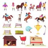 De Inzameling van paardenrennenpictogrammen royalty-vrije illustratie