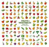 De inzameling van pictogrammen op vruchten en groenten Stock Foto's