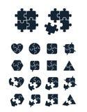 De inzameling van puzzelpictogrammen Stock Foto's