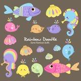 De Inzameling van de regenboogkrabbel stock illustratie