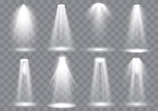De inzameling van de scèneverlichting, het Gloeien transparante Studio lichteffecten Heldere verlichting met schijnwerpers Vector vector illustratie