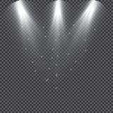 De inzameling van de scèneverlichting, transparante gevolgen Heldere verlichting met schijnwerpers stock illustratie