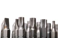 De inzameling van schroevedraaierbeetjes die op wit wordt geïsoleerd Stock Fotografie