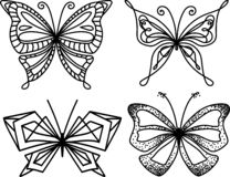 De inzameling van de silhouetvlinder In Geometrisch Ontwerp royalty-vrije stock afbeelding
