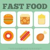 De inzameling van snel voedselpictogrammen Stock Afbeeldingen