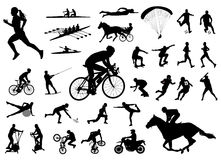 De inzameling van sportsilhouetten Stock Afbeeldingen