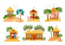 De inzameling van strandhuizen van strohutten, bungalow vector illustratie