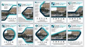 De inzameling van tien brochuremalplaatje voor jaarlijkse technologie bracht reposts, vectorontwerpa4 lay-out met ruimte voor tek vector illustratie
