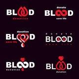 De inzameling van vectoremblemen leidde tot op van de van de bloeddonatieidee, bloedtransfusie en omloop concepten Medische thema stock illustratie