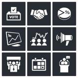 De inzameling van verkiezingspictogrammen Stock Afbeeldingen