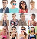 De inzameling van verschillend vele gelukkige glimlachende jongeren ziet Kaukasische vrouwen en mannen onder ogen Conceptenzaken, Royalty-vrije Stock Afbeelding