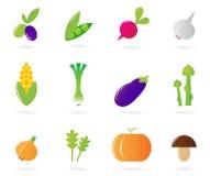 De inzameling van verse groentepictogrammen die op wit wordt geïsoleerdo Stock Fotografie
