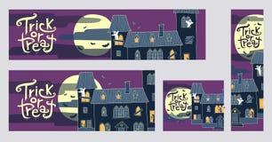 De inzameling van vier Halloween truc of behandelt Webbanners met spo Stock Afbeelding