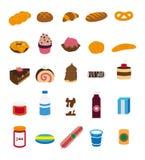 De inzameling van voedselillustraties. stock illustratie