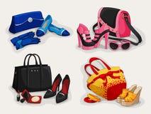 De inzameling van vrouwen doet schoenen en toebehoren in zakken stock illustratie