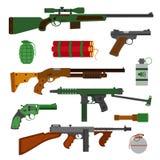 De inzameling van wapenskanonnen Pistolen, revolver, machinepistool Royalty-vrije Stock Afbeeldingen